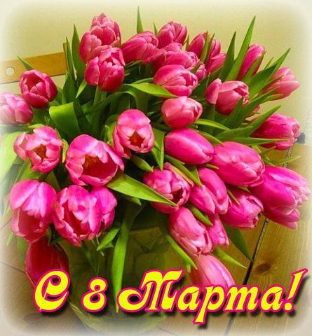 Букет тюльпанов в день 8 Марта~Открытки с 8 Марта